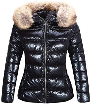 Bellivera Women's Lightweight Puffer Jacket Warm Coat Hooded with Fur Collar
