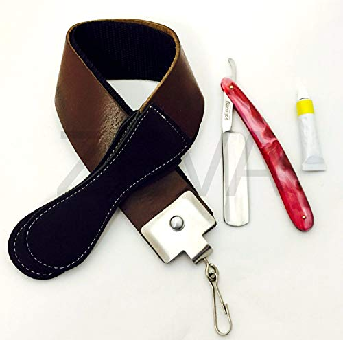 Cut Throat Barber Straight Edge Razor Sharpening Strop Strap & Dovo Paste by Hector Beauty Supply