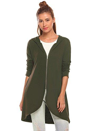 Zeagoo Women's Casual Light Oversized Zip Hoodie Sweatshirt Jacket,Army Green,Medium