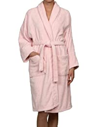 Superior Hotel & Spa Robe, 100% Premium Long-Staple Combed Cotton Unisex Bath Robe for Women and Men - Medium, Pink