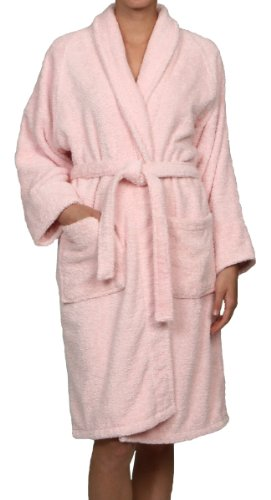 Superior Unisex Egyptian Terry Cotton Small Bath Robe, Pink
