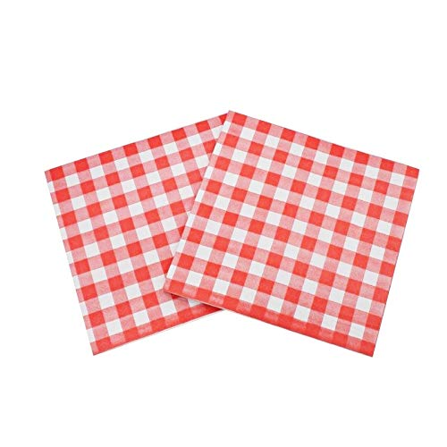 WallyE Red and White Gingham Paper Napkins for Garden Barn Picnic or Farm Birthday Party BBQ, 40 Pack ()