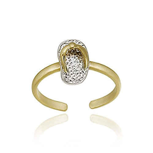 Silver Tone Ring Toe Silver (Hoops & Loops Yellow Gold Flash Sterling Silver Two-Tone Flip Flop Toe Ring)