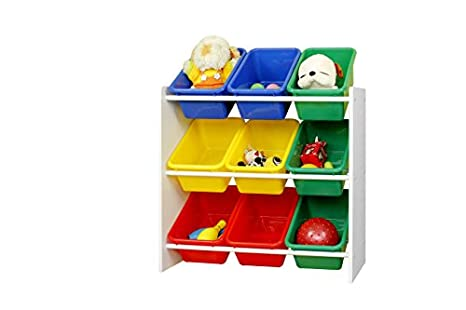 Gentil Muscle Rack KBO261024 BC Kids Storage Organizer With 9 Bins In White,  23.6u0026quot;