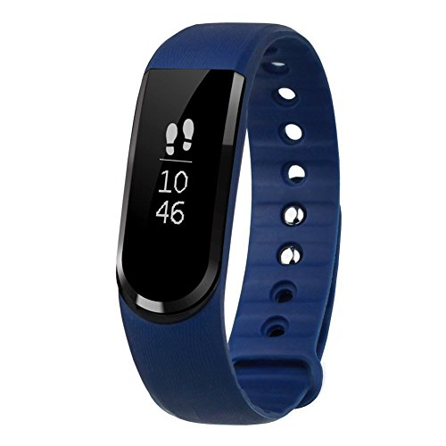 Smart Fitness Tracker LETSCOM Wireless Bluetooth 4.0, Activity Pedometer and Health Sleep Monitor Calorie Counter OLED Touch Screen Waterproof Super Band for Android and IOS, Blue