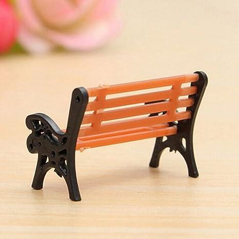 uk 1xMini Garden Ornament Miniature Bench Craft Fairy Dollhouse Decor