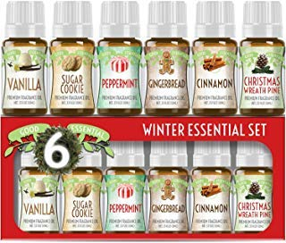 Winter Essential Oil Set of 6 Fragrance Oils - Christmas Wreath Pine, Vanilla, Peppermint, Cinnamon, Sugar Cookie, and Gingerbread by Good Essential Oils