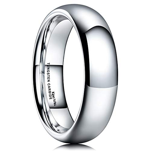 King Will Basic Men's 6mm High Polished Comfort Fit Domed Tungsten Carbide Ring Wedding Band 7