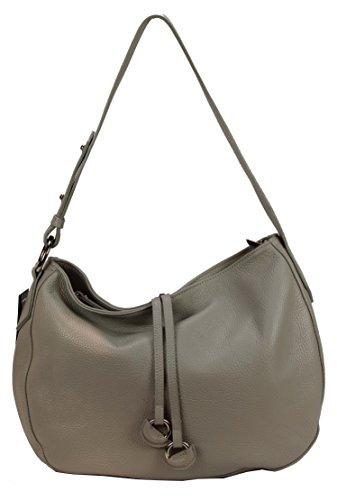 BOZANA Bag Ida Hellgrau Grau Italy Designer Damen Handtasche Schultertasche Ledertasche Tasche Wildleder Prägung Shopper Neu xjnkIx0iE