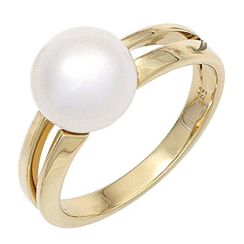 Bague bague pour femme avec perle perle d'eau douce en or jaune 585perle Bague