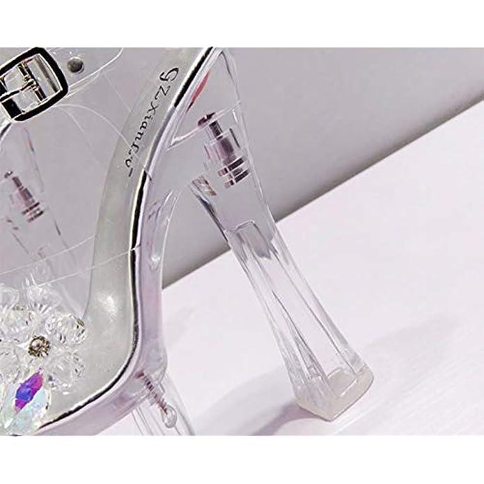 Sandali Da Donna Punta Aperta Sexy Tacco A Cristallo Spesso Alto Super 18cm Suola Di Gomma Materiale Trasparente