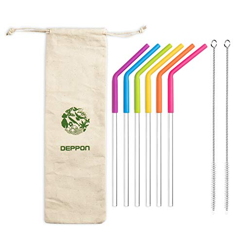 """Price comparison product image Reusable Drinking Straws,  Set of 6,  Deppon 10.5"""" Detachable Clear Silicone Straw for 30oz Tumbler Yeti - 2 Brushes & Carry Pouch Included (Diameter: 7mm)"""