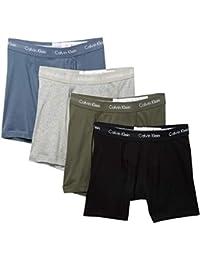 Men`s Cotton Boxer Briefs 4 Pack (Black(NP2009-931)/Olive, Large)
