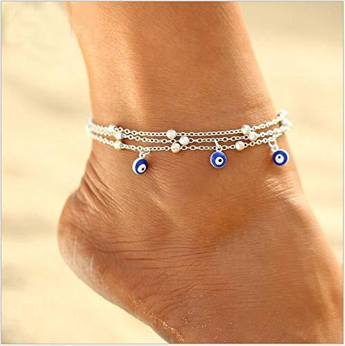 Yean Larered Argent Pendentif Oeil Cheville Bracelet De Perles Pied Bijoux Cha/îne pour Femmes Et Filles