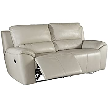 Ashley Furniture Signature Design - Valeton Reclining Sofa - Power Recliner Couch - Contemporary Style - Cream