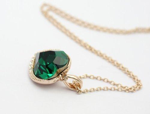 18ct rose gold finish heart shaped pendant necklace with swarovski 18ct rose gold finish heart shaped pendant necklace with swarovski emerald crystals aloadofball Images