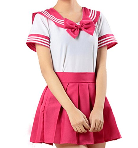 (WenHong School Uniform Dress Cosplay Costume Japan Anime Girl Lady Lolita Hot Pink)