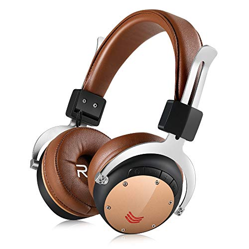 Fekgoo Bluetooth Headphones Over-Ear-Wireless Hi-Fi Stereo Headset with Mic 40mm Driver Foldable Headphones Support TF Card for Travel Sports Music Cell Phones PC (Brown)
