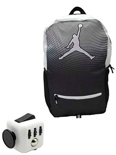 Nike Air Jordan Jumpman Youth 23 Backpack Book Bag + FREE FIDGET CUBE (Black & White) (Black & White)