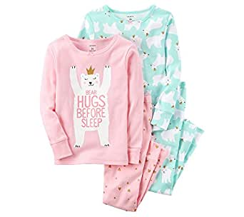 Carter's Girls' 12M-12 4 Piece Bear Hugs Pajama Set Pink & Blue 2T