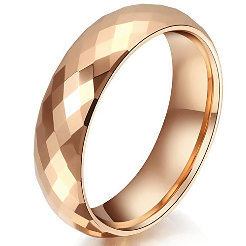 Twinkle 18k Ring (Mens Womens 6mm Tungsten Carbide Rhombus 18K Rose Gold Ring Wedding Engagement Domed Band For Him Her)