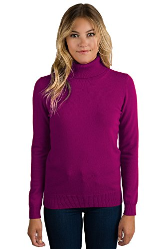 JENNIE LIU Women's 100% Pure Cashmere Long Sleeve Pullover Turtleneck Sweater (XL, Berry)