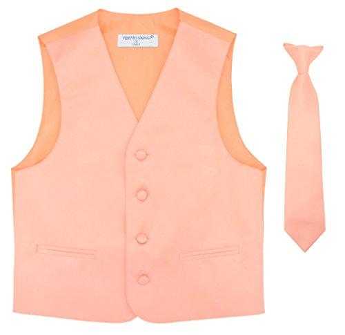 Neckties Two (Boy's Dress Vest & Necktie Solid Peach Color Neck Tie Set Size 2)