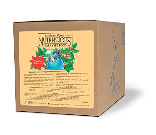 - LAFEBER'S Classic Nutri-Berries Pet Bird Food, Made with Non-GMO and Human-Grade Ingredients, for Parakeets (Budgies), 20 lbs