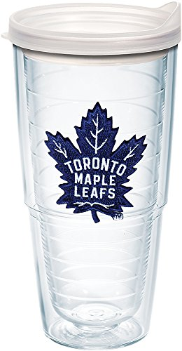 (Tervis 1227863 NHL Toronto Maple Leafs Primary Logo Tumbler with Emblem and Frosted Lid 24oz, Clear)