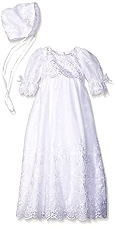 Long White Embroidered Organza Baby Girl Christening Baptism Special Occasion Newborn Dress Gown with Matching Hat - S (3-6 Month, 8-12 lbs)