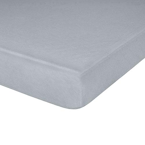 Jersey Knit Fitted Cot Sheet, 33' X 75', Deep Pocket, Ideal for Cot Size Bed, Hypoallergenic, Grey, Pack of 1