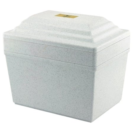 Guardian Vault in White, Urn Vault for Burial, Adult Sized, Polymer Storage of One Cremation Urn for Burial of Ashes by Silverlight Urns
