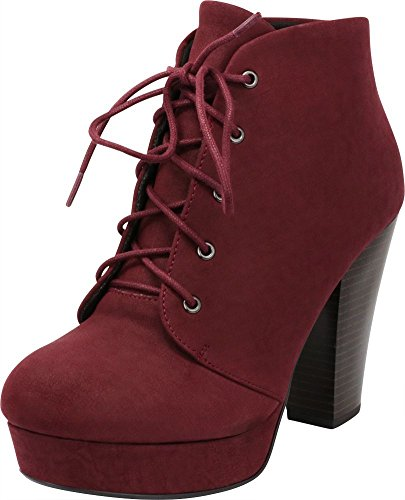 Cambridge Select Women's Lace-up Platform Chunky Stacked Heel Ankle Bootie,8.5 M US,Burgundy -