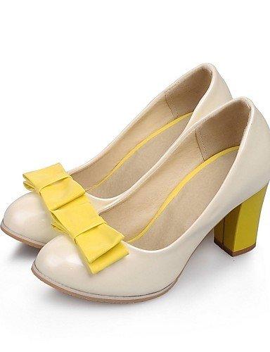 us9 uk7 Karriere Heels Damen beige pink violett 10 5 Schleife Toe Ferse Round Patent Schuhe GGX eu41 8 cn42 5 Büro geschoben Leder purple amp; Casual Sommer qfwfvH