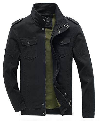 WULFUL Men's Cotton Military Jackets Stand Collar Casual Outdoor Windbreaker Coat by WULFUL