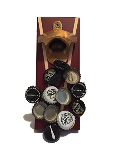 Titan - Wall Mounted Bottle Opener with Finished Wood and Magnetic Cap Catcher (Antique (Titan Bottle Opener)
