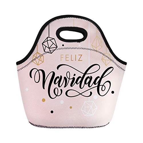 Semtomn Neoprene Lunch Tote Bag Spanish Merry Christmas Feliz Navidad Lettering and Crystal Ornaments Reusable Cooler Bags Insulated Thermal Picnic Handbag for Travel,School,Outdoors,Work