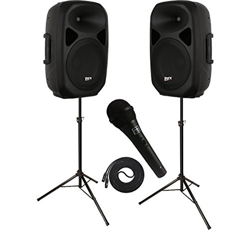LyxPro SPEAKER KIT: 2 Speakers 15'' PA SYSTEMS w/ Onboard Equalizer, Bluetooth, SD CARD SLOT, USB, AUX Input, 2 SPEAKER STANDS and Microphone by LyxPro