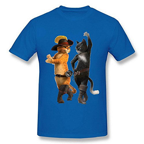 Men's Puss In Boots Movie Cat Poster Logo RoyalBlue Tshirts