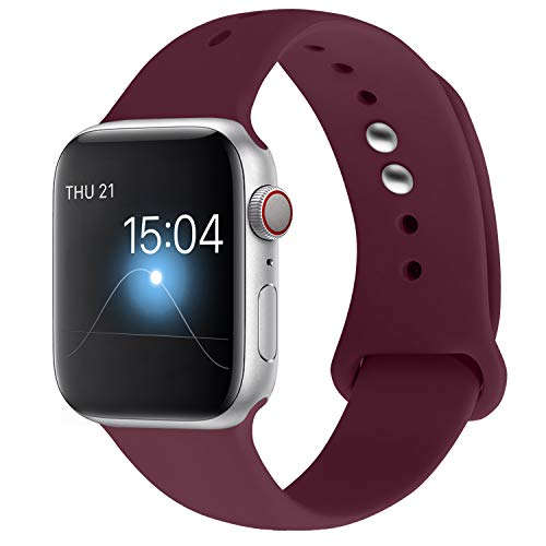 - YOUKEX Sport Band Compatible with Apple Watch 38mm/40mm, Soft Silicone Strap Wristbands Replacement for Series 4/3/2/1 Women Men, (Wine Red S/M)