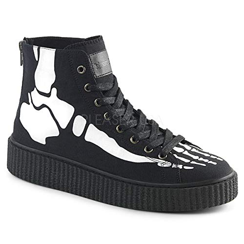 Demonia 1 1/2 Inch Platform Round Toe Lace-Up Front High Top Creeper Sneaker (Black -