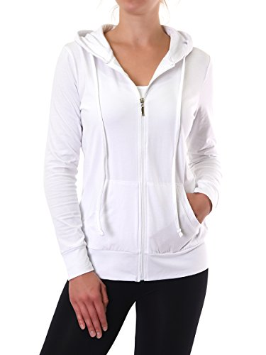 Teejoy+Women%27s+Thin+Cotton+Zip+Up+Hoodie+Jacket+%28M%2C+White%29