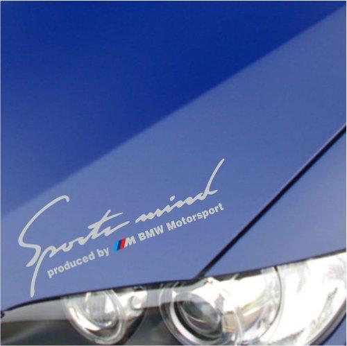 """Sports Mind produced by M BMW Performance Sticker Decal M1 for BMW 335I E90 E92 750 650 550 535 E38 325I 318I 328I Z4 M3 M5 M6 X3 X5 X6 Z3 Z8 335 I XI 330 328 M4 (12"""" x 4 1/4"""" - 30cm x 11cm, Silver)"""
