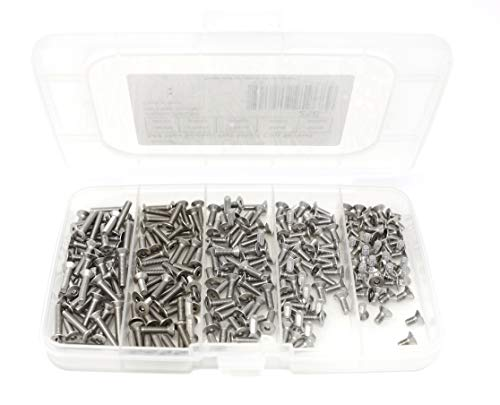 - iExcell 250 Pcs M3 x 6mm/8mm/10mm/12mm/16mm Stainless Steel 304 Hex Socket Flat Head Cap Screws Kit