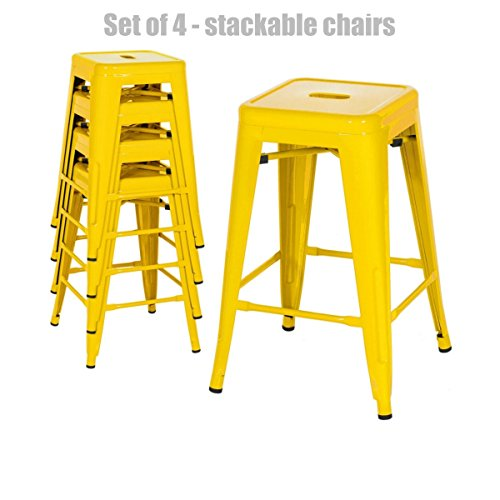Retro Classic Style School Office Kitchen Dining Room Chair Stackable Backless Metal Frame Stable Seats Indoor/Outdoor Bar Stools - Set of 4 - Yellow #1049 (Dining Furniture Set Havertys Room)