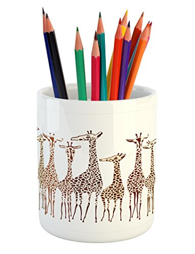 Lunarable Safari Pencil Pen Holder, Tropical Giraffes Exotic Climates Wilderness Savannah Animals Artful Illustration, Printed Ceramic Pencil Pen Holder for Desk Office Accessory, Multicolor