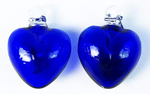 Mexican Glass Hearts Pair of Small Hearts 2 Inches B lue