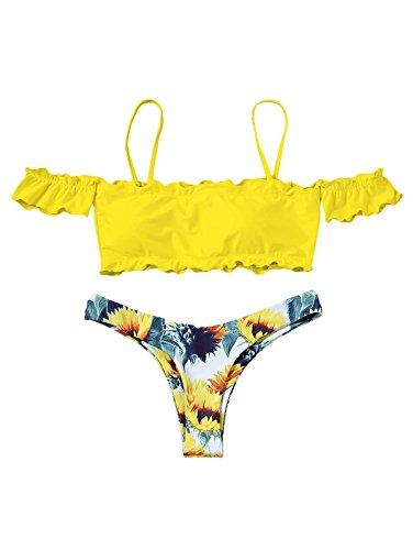 Push Giallo Imbottito Bikini Arruffato Con Zaful Mare A up Design Maniche Donna Due Pezzi TOwTIqnSc