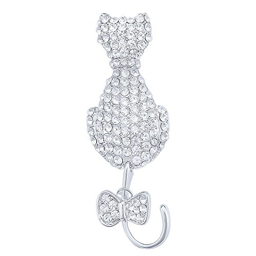 Rhinestone Kitty Cat Brooch Pin - 3