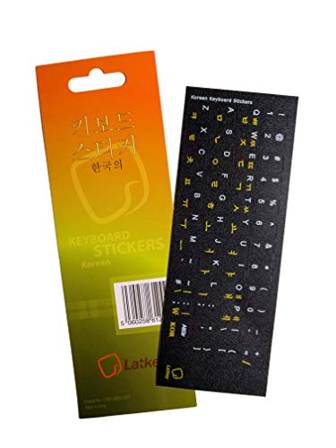 Korean Keyboard Sticker for PC, Laptop, Computer Keyboards, iMac (Labels on Black Background, Yellow/White Letters)